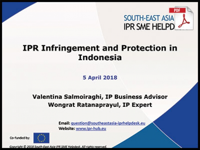 Presentation of IPR Infrigement and Protection in Indonesia 5 April 2018
